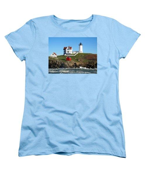 Women's T-Shirt (Standard Cut) featuring the photograph Nubble Lighthouse One by Barbara McDevitt