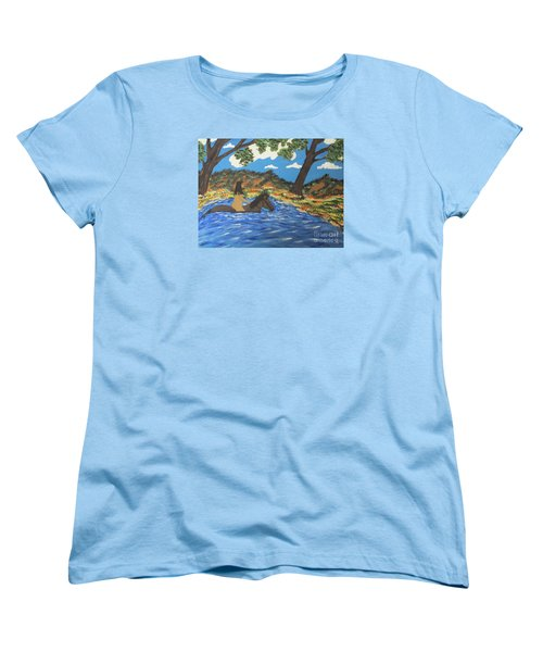 Women's T-Shirt (Standard Cut) featuring the painting Nude And Bareback Swim by Jeffrey Koss