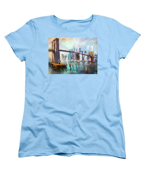 Ny City Brooklyn Bridge II Women's T-Shirt (Standard Cut) by Ylli Haruni