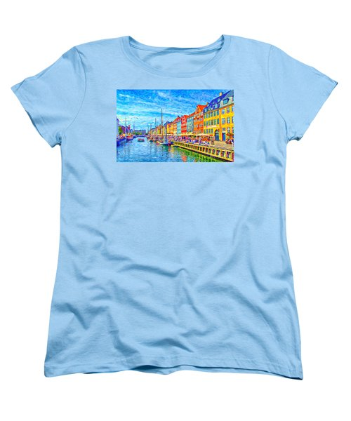 Nyhavn In Denmark Painting Women's T-Shirt (Standard Cut) by Antony McAulay