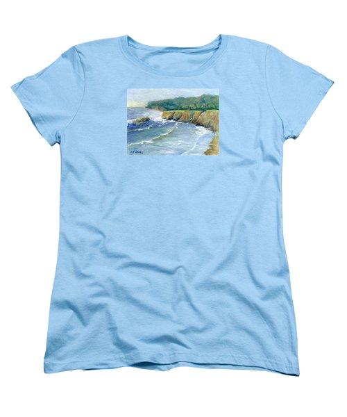 Ocean Surf Colorful Original Seascape Painting Women's T-Shirt (Standard Cut) by Elizabeth Sawyer