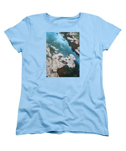 Women's T-Shirt (Standard Cut) featuring the painting Ocoee River Low Tide by Mike Ivey