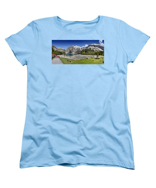 Women's T-Shirt (Standard Cut) featuring the photograph Oeschinen Lake by Carsten Reisinger