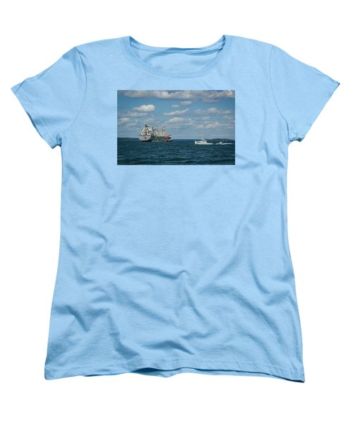 Women's T-Shirt (Standard Cut) featuring the photograph Oil Tanker And Lobster Boat by Jane Luxton