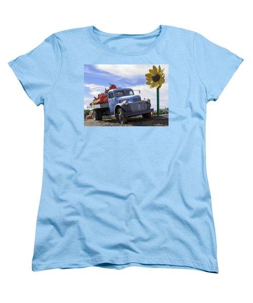 Old Blue Farm Truck  Women's T-Shirt (Standard Cut) by Patrice Zinck