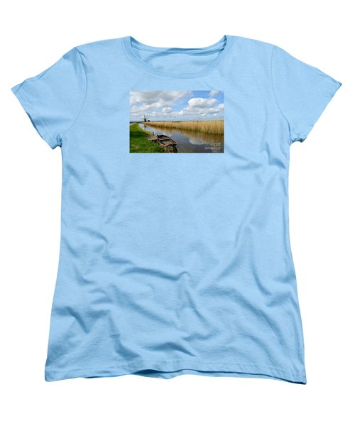 Old Boat In A Canal In Holland Women's T-Shirt (Standard Cut) by IPics Photography