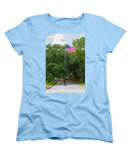 Women's T-Shirt (Standard Cut) featuring the photograph Old Glory High And Proud by Sennie Pierson