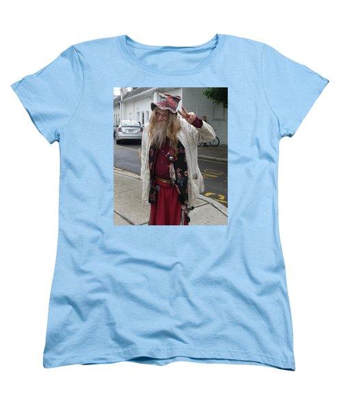 Old Hippie In Woodstock Ny  Women's T-Shirt (Standard Cut) by Anna Ruzsan
