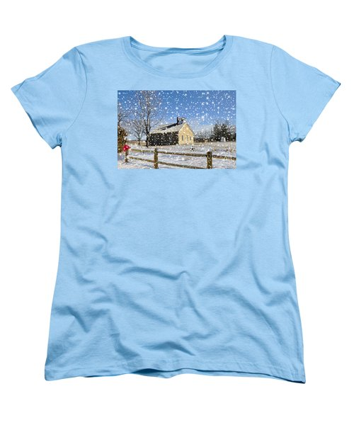 Women's T-Shirt (Standard Cut) featuring the photograph Old Kansas Schoolhouse by Liane Wright