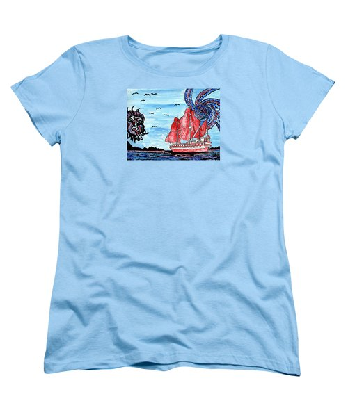 Women's T-Shirt (Standard Cut) featuring the painting Old Man And The Sea by Connie Valasco
