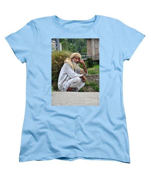 Women's T-Shirt (Standard Cut) featuring the photograph Old Man Carrying Fodder Swat Valley Kpk Pakistan by Imran Ahmed