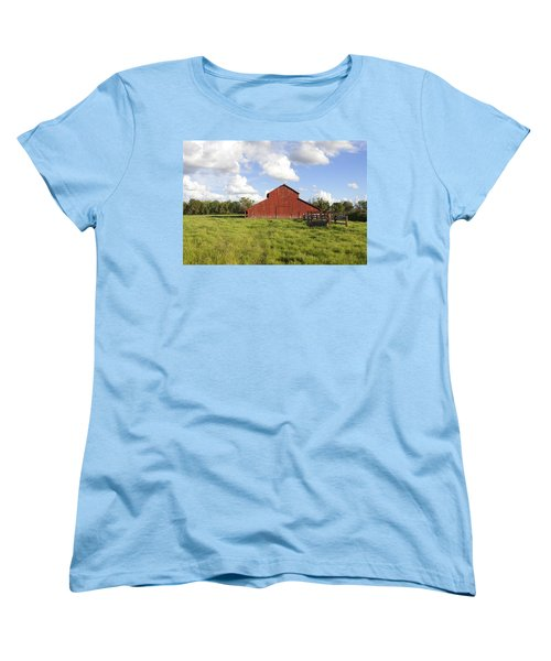 Women's T-Shirt (Standard Cut) featuring the photograph Old Red Barn by Mark Greenberg