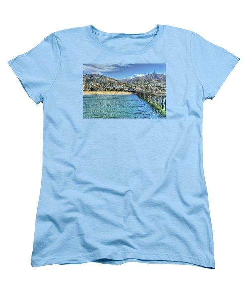 Old Ventura City From The Pier Women's T-Shirt (Standard Cut) by David Zanzinger