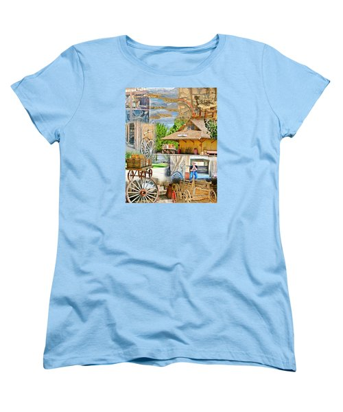 Women's T-Shirt (Standard Cut) featuring the photograph Old West Collage by Marilyn Diaz