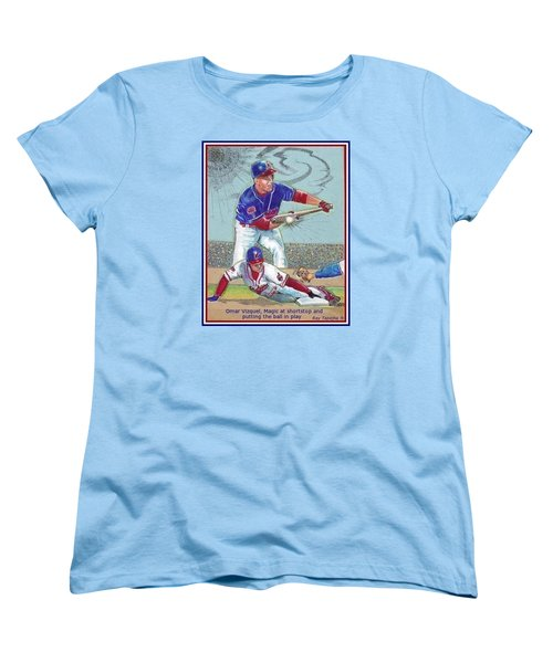 Women's T-Shirt (Standard Cut) featuring the mixed media Omar Vizquel Shortstop Magic by Ray Tapajna