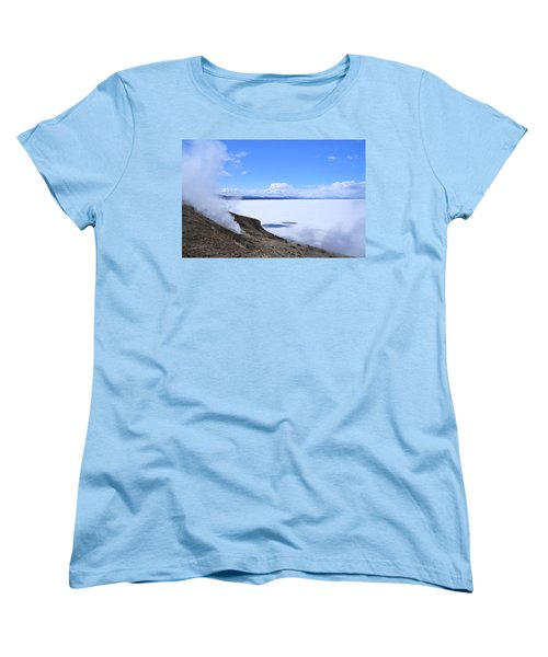 Women's T-Shirt (Standard Cut) featuring the photograph On The Edge Of Lake Yellowstone by Michele Myers