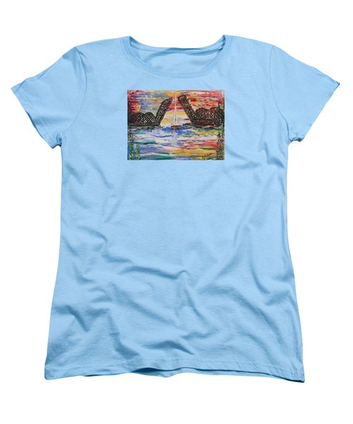 On The Hour. The Sailboat And The Steel Bridge Women's T-Shirt (Standard Cut) by Andrew J Andropolis