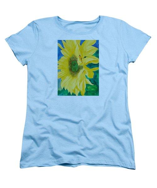 One Bright Sunflower Colorful Original Art Floral Flowers Artist K. Joann Russell Decor Art  Women's T-Shirt (Standard Cut) by Elizabeth Sawyer