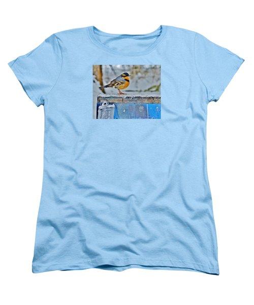 Orange Blue And Sleet Women's T-Shirt (Standard Cut) by VLee Watson