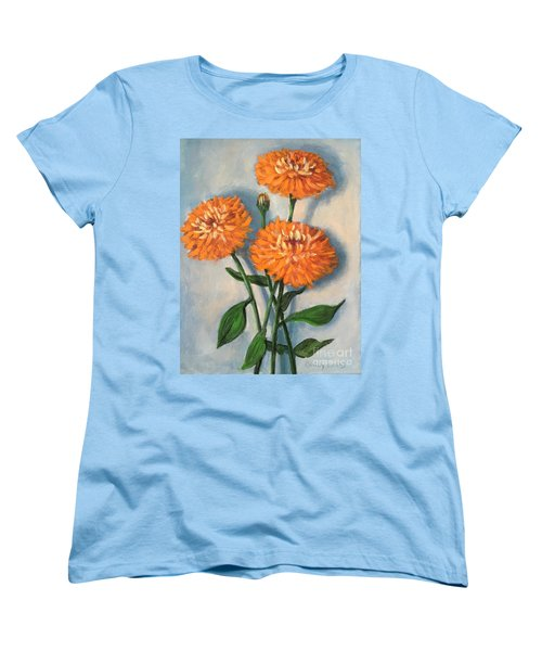 Women's T-Shirt (Standard Cut) featuring the painting Orange Zinnias by Randol Burns