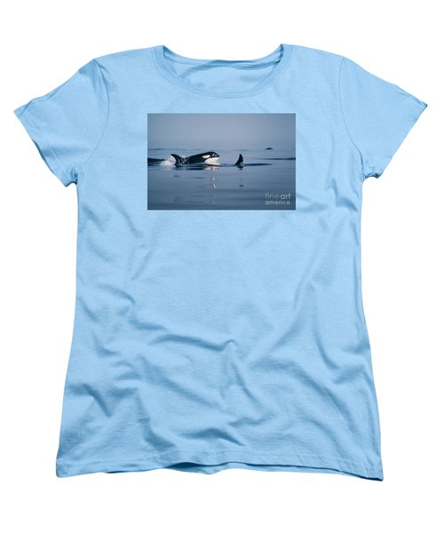 Women's T-Shirt (Standard Cut) featuring the photograph Orcas Off The San Juan Islands Washington  1986 by California Views Mr Pat Hathaway Archives