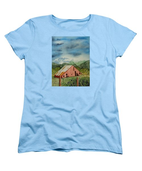 Women's T-Shirt (Standard Cut) featuring the painting Oregon Barn by Katherine Young-Beck