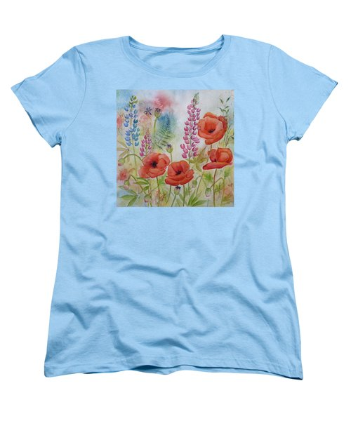 Women's T-Shirt (Standard Cut) featuring the painting Oriental Poppies Meadow by Carla Parris