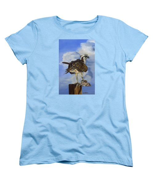Women's T-Shirt (Standard Cut) featuring the painting Osprey And A Mullet by Phyllis Beiser