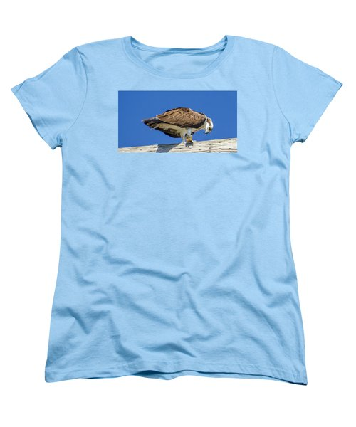 Women's T-Shirt (Standard Cut) featuring the photograph Osprey Eating Lunch by Dale Powell