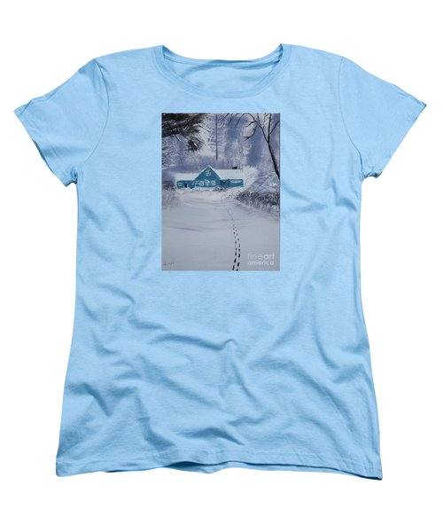 Women's T-Shirt (Standard Cut) featuring the painting Our Little Cabin In The Snow by Ian Donley