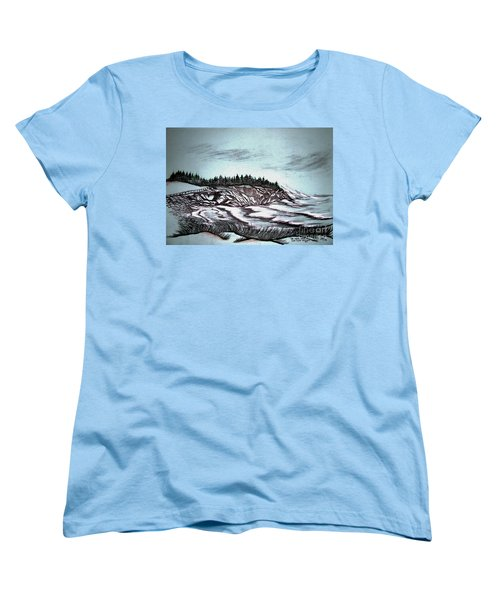 Women's T-Shirt (Standard Cut) featuring the drawing Oven's Park Nova Scotia by Janice Rae Pariza