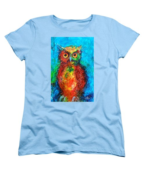 Women's T-Shirt (Standard Cut) featuring the painting Owl In The Night by Faruk Koksal
