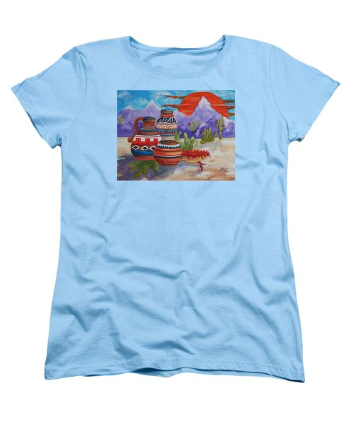Painted Pots And Chili Peppers Women's T-Shirt (Standard Cut) by Ellen Levinson