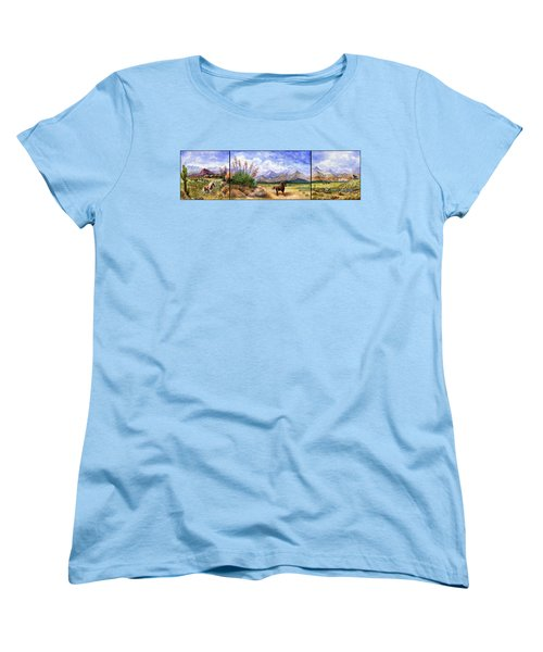 Panorama Triptych Don't Fence Me In  Women's T-Shirt (Standard Cut) by Marilyn Smith