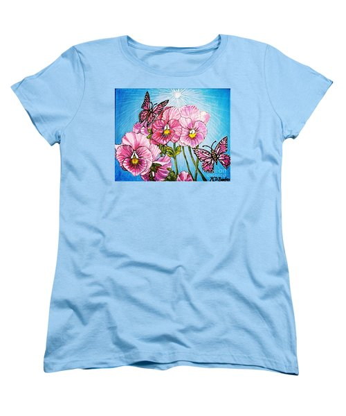 Women's T-Shirt (Standard Cut) featuring the painting Pansy Pinwheels And The Magical Butterflies With Blue Skies by Kimberlee Baxter