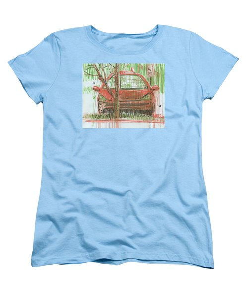 Women's T-Shirt (Standard Cut) featuring the painting Papa John's by Donald Maier