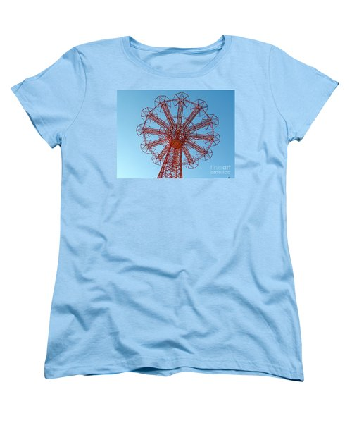 Women's T-Shirt (Standard Cut) featuring the photograph Parachute Jump-coney Island by Ed Weidman