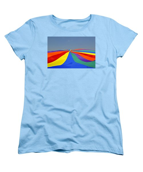 Women's T-Shirt (Standard Cut) featuring the photograph Parachute Of Many Colors by Verana Stark