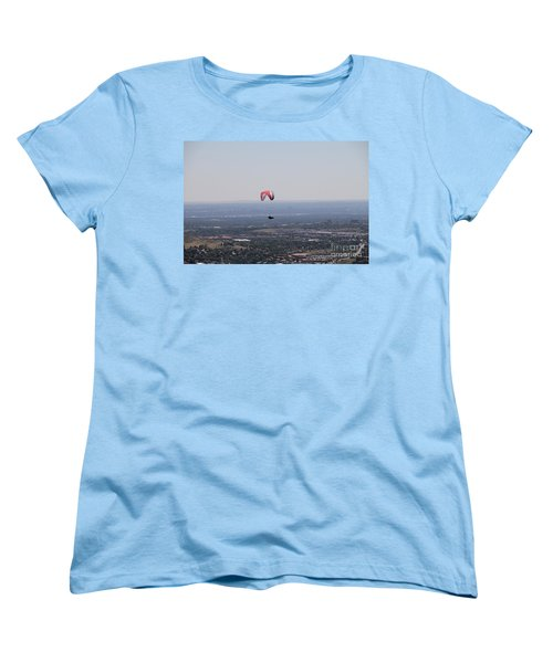 Women's T-Shirt (Standard Cut) featuring the photograph Paragliding Over Golden by Chris Thomas