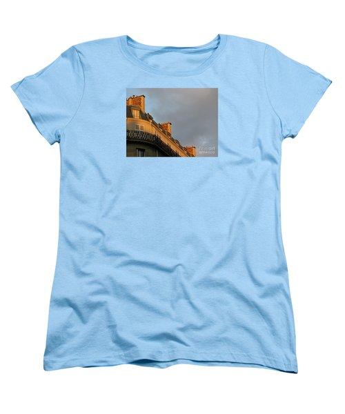 Women's T-Shirt (Standard Cut) featuring the photograph Paris At Sunset by Ann Horn
