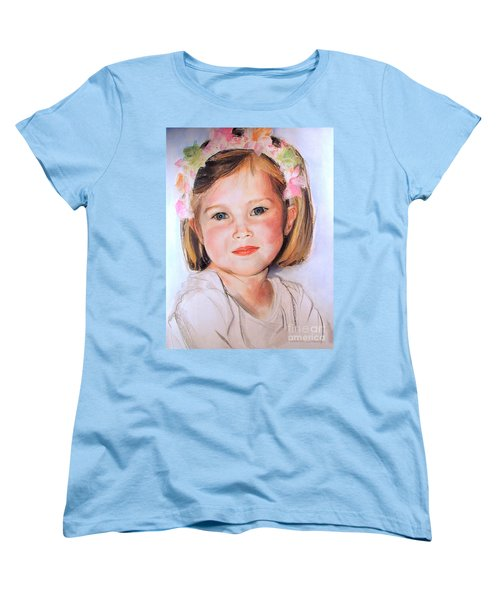 Women's T-Shirt (Standard Cut) featuring the painting Pastel Portrait Of Girl With Flowers In Her Hair by Greta Corens