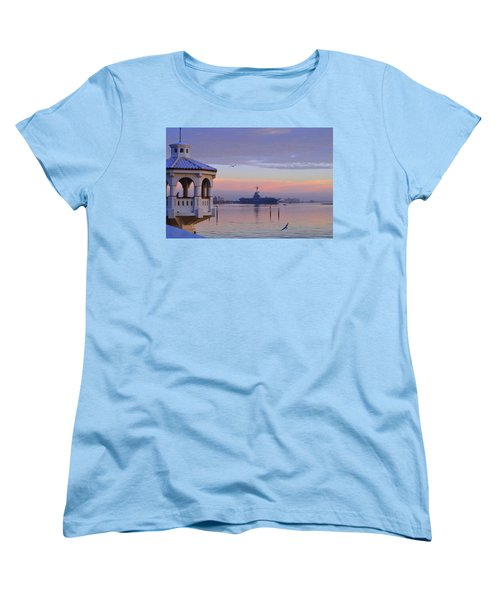 Pastel Uss Lexington Women's T-Shirt (Standard Cut) by Leticia Latocki