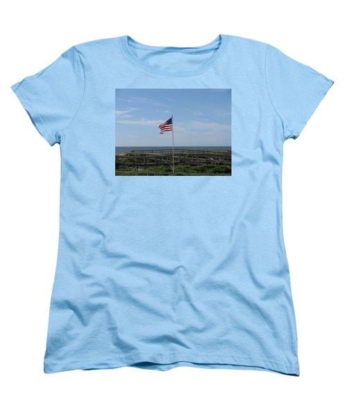 Patriotic Beach View Women's T-Shirt (Standard Cut)