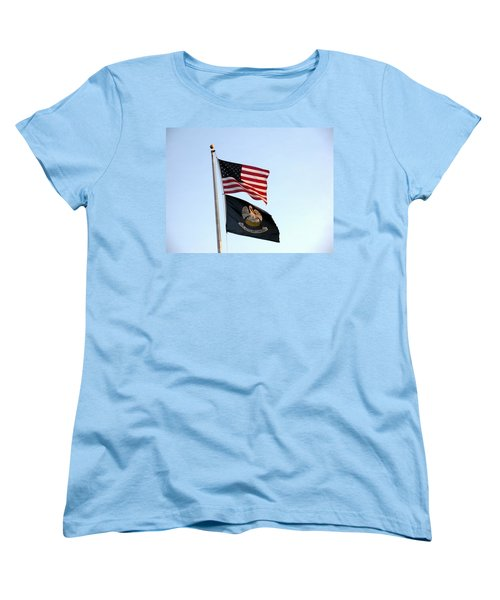 Women's T-Shirt (Standard Cut) featuring the photograph Patriotic Flags by Joseph Baril