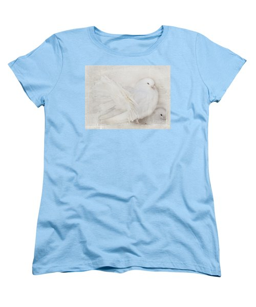 Peaceful Existence White On White Women's T-Shirt (Standard Cut) by Barbara McMahon