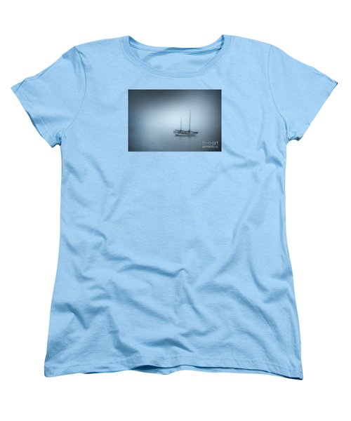 Women's T-Shirt (Standard Cut) featuring the photograph Peaceful Sailboat On A Foggy Morning From The Book My Ocean by Artist and Photographer Laura Wrede