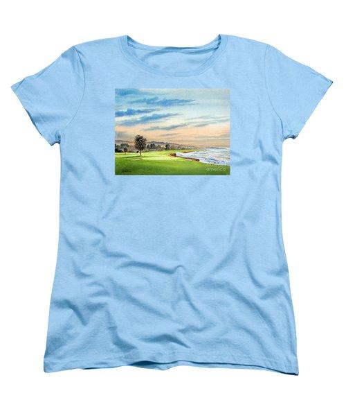 Pebble Beach Golf Course 18th Hole Women's T-Shirt (Standard Cut) by Bill Holkham