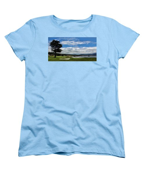 Pebble Beach - The 18th Hole Women's T-Shirt (Standard Cut) by Judy Vincent