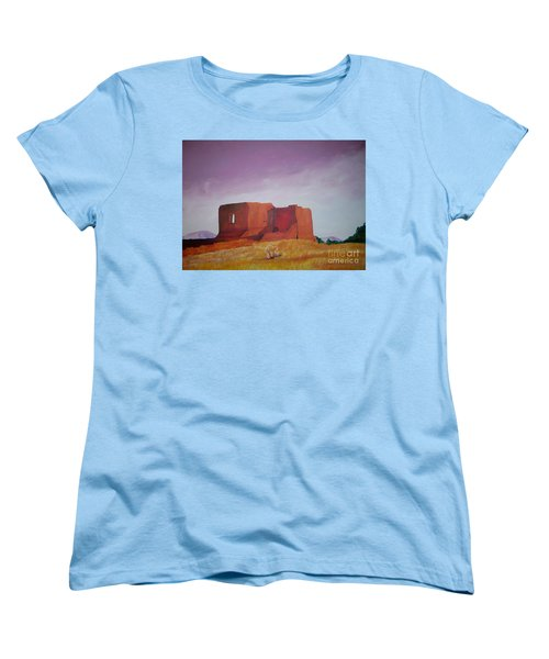 Women's T-Shirt (Standard Cut) featuring the painting Pecos Mission Landscape by Eric  Schiabor