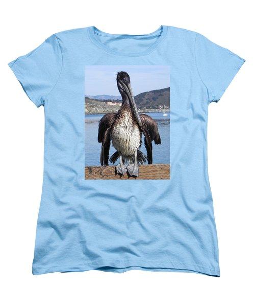 Pelican At Avila Beach Ca Women's T-Shirt (Standard Cut) by Kathy Churchman